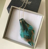 Jade Green Murano Glass Leaf Necklace